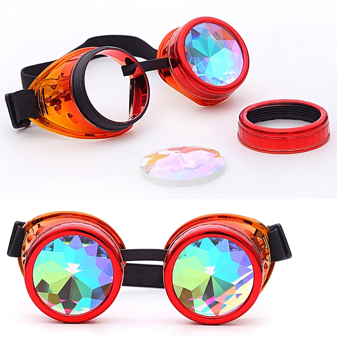 a97ec9f4aae2 Kaleidoscope Colorful Glasses Rave Festival Party EDM Sunglasses Diffracted  Lens