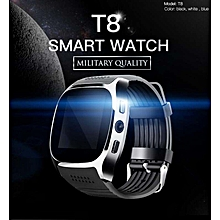 Hot T8 Bluetooth Smart Watch Support SIM TF Card Camera Smartwatch Sports Fitness Tracker Wristwatch for Android iOS Black