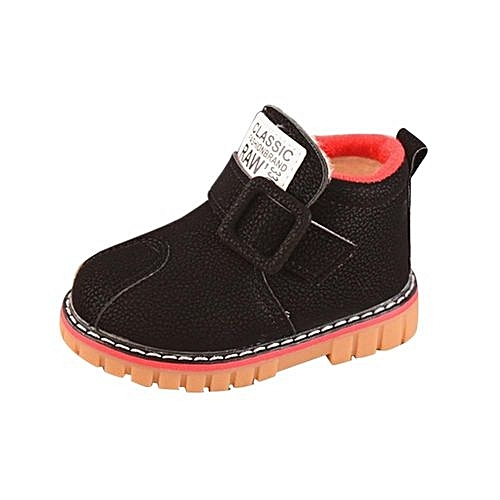 0a6b5f5c31 YiQu bluerdream-Infant Toddler Kids Baby Girls Boys Leather Shoes Winter  Martin Snow Boots Shoes- Black