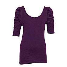 Purple Three Quarter Sleeved Girls Top