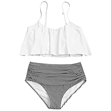 High Waisted Stripe Panel Bikini Set