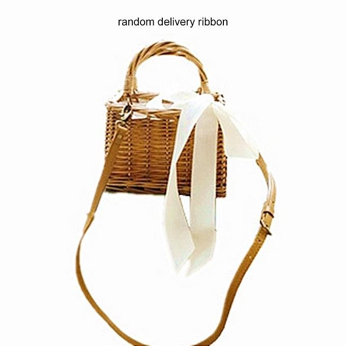 Tb Women Square Straw Vintage Bag Rattan Woven Handbag Las Knitted Bags Natural Wood Color