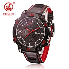 OHSEN Mens Watches Top Brand Luxury Sport Quartz Watch Leather 3ATM Waterproof Men's Stainless Steel Watches Relogio Masculino