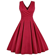 V-neck Pleated Dress with Bowknot Belt - Red