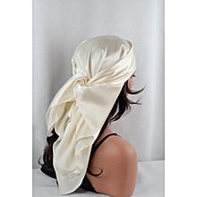 Pretty Ivory Charmeuse Satin Sleep Scarf 36x36 inches