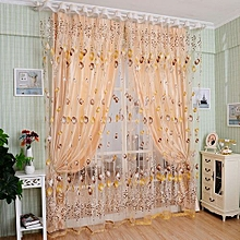 Floral Tulle Voile Door Window Curtain Drape Panel Sheer Scarf Valances Divider (Orange)