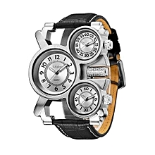 Watches, Men Watches, Fashion Casual Mens Luxury Military Watch 3 Time Zone Leather Quartz Watch - Black