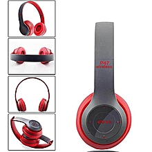 P47 Bluetooth 4.2 Headphone Wireless  Earphone Hands Free Music Headset-Red