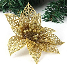 10 Pcs 15 Cm Artificial Hollow Poinsettia Gold Flower For Christmas Tree Wreath House Decoration Flower With Shining Edge