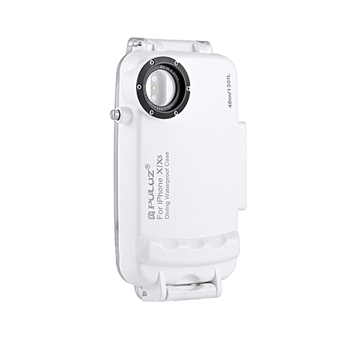 on sale 28045 2f4f1 PULUZ for iPhone X & XS 40m/130ft Waterproof Diving Housing Case for  Surfing Swimming Photo Video Taking Underwater Cover (White)