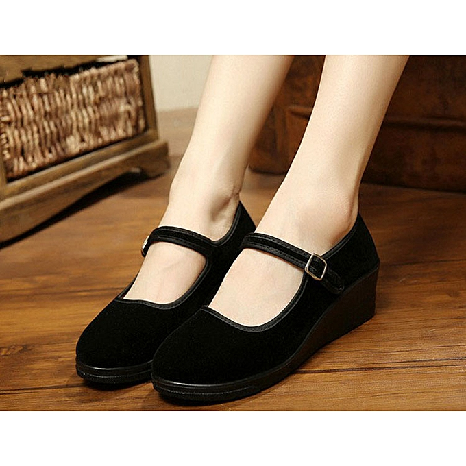 189137e4ed635 Womens Ladies Mary Jane Dance Office Work Formal Strap Mid Wedge Heel Shoes  Size