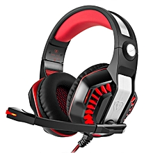 GM-2 Stereo Bass Gaming Wired Headphone with Microphone & LED Light, for PS4, Smartphone, Tablet, PC, Notebook(Red)