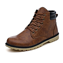 bluerdream-Men Low Ankle Trim Flat Ankle Winter Autumn Boots Casual Martin Shoes- Yellow_CN SIZE