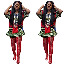 Fohting  Women African Print Dress Casual Straight Print Above Knee Mini Dresses L=XL - Red