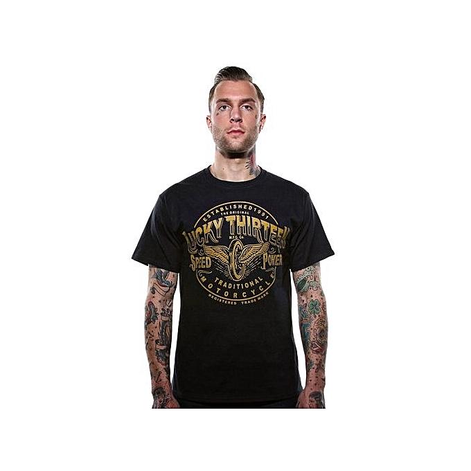 85d914fd ... Neck T Shirts For Men · Lucky 13 [traditional Speed] T-shirt Rockabilly  Tattoo Ink Flying Wheel Biker Graphic