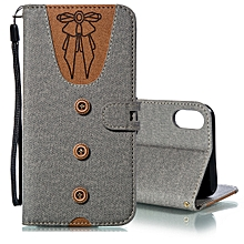 Splicing Embossed Female Style Horizontal Flip Leather Case for iPhone XS Max , with Holder & Card Slots & Wallet & Lanyard(Grey)