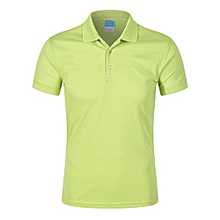 Pure Color Fashion Casual Men's Summer B Short Sleeves Polo Shirts-Light Green