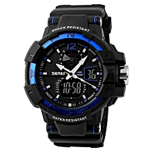 1040 Fashion Outdoor Men Sports Watches Brand LED Digital Quartz Waterproof Military Wristwatch - Blue