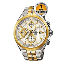 Ivory & Gold Dial Watch With Stainless Steel Straps