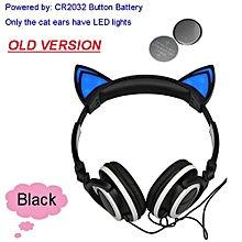 Foldable Flashing Glowing Cat Ear Headphones Gaming Headset Earphone With LED Light For PC Laptop Computer Mobile Phone Black
