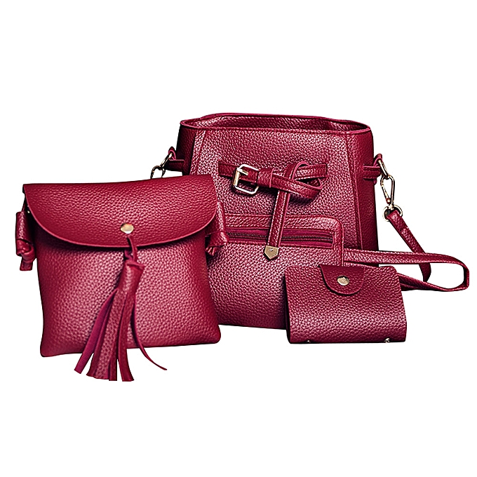 61c6e2a94a guoaivo Women Four Set Fashion Handbag Shoulder Bag Four Pieces Tote Bag  Crossbody Wallt