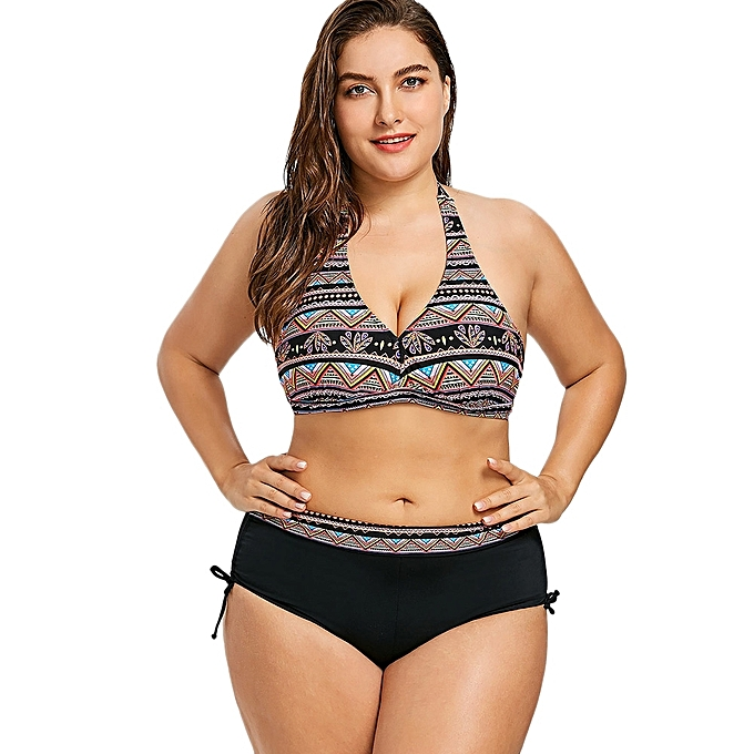 d55785342df78 Fashion Bohemian Plus Size Halter Bikini - BLACK   Best Price ...