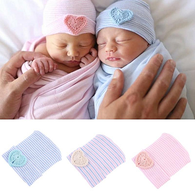 b68f8ee23 Newborn Baby Hat Soft Pure Cotton Infant Bebe Boy Girl Beanie Hospital Hat  Heart Baby Knitted Bonnet Cap
