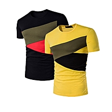 (2 pieces) Men's Casual Slim Fit Splicing two Colors Round Neck Short Sleeve T-Shirt Multicolor