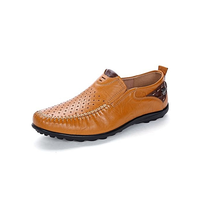 1124b55e632 Fashion Mens Cut-Out Cow Leather Loafers Anti-Slip Driving Shoes ...