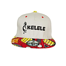 Light Grey And Red Snapback Hat With Kelele Colors On Brim