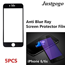 5PCS Phone Tempered Glass Film Anti Blue Ray Screen Protector Film For IPhone 6/6s Black