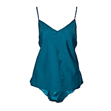 Blue Shorts With Elastic Waist Band & A Matching Top