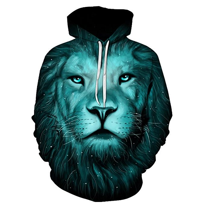 d7e6839fa68d Fashion 3D Lion Galaxy Print Pullover Hoodie - COLORMIX   Best Price ...