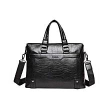Large Capacity Men's Leather Laptop Handbag -Black