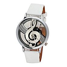 Watches Note Music Notation Leather Quartz Wristwatch White