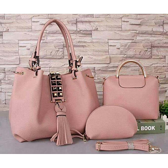 3b14aa98bd14 Generic Pink 3-in-1 Classy Ladies Handbags   Best Price
