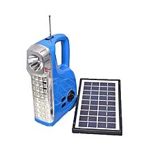 Rechargeable LED Radio Light [w] Solar Panel - Blue