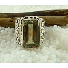 Green Amethyst Semi Precious Gemstone in 925' Sterling Silver Ring Size 6.