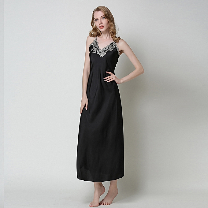 Womens Nightdress Lace Satin Nightgowns paghetti Strap Sleepwear - Black dc6feb7568