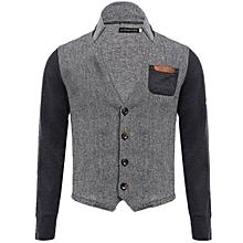 Men's Stand Collar Coat With Pocket - Grey