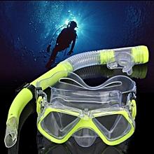Profession Diving Equipment Dive Mask Dry Snorkel Set Scuba Snorkeling Gear Kit Yellow-