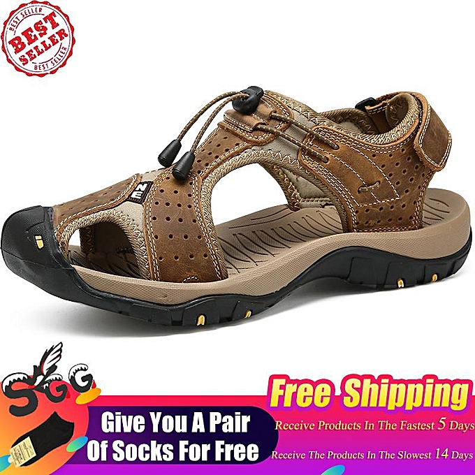 648b325e55193 2019 Fashion SGG Mens Leather Sandals Outdoor Hiking Sports Sandals  Lightweight Athletic Sandals Fisherman Beach Shoes Anti-Slip Water Sandals
