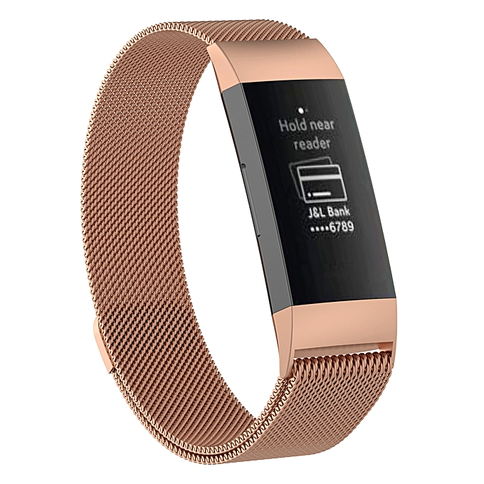 Stainless Steel Magnet Wrist Strap for FITBIT Charge 3, Size:Small,  187x18mm (Rose Gold)