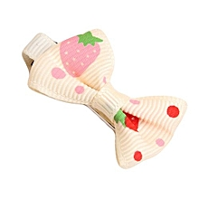 Girls Hair Clips Ribbon Bow Kids Strawberry Satin Bowknot Hairpin Beige