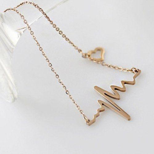Women's Alloy Heart Beat Chain Bib Necklace Golden - gold