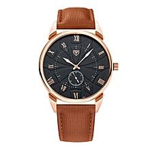 451 Men Fashion Business PU Leather Band Quartz Wrist Watch, Luminous Points, Black Dial(Brown)