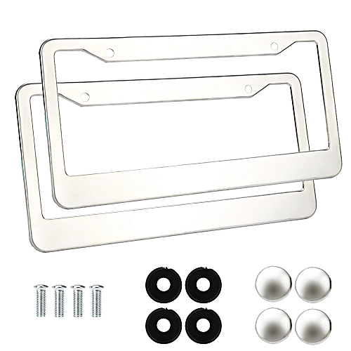 Africanmalldn 2 Pieces Stainless Steel Metal License Plate Frames Tag Cover Caps Silver