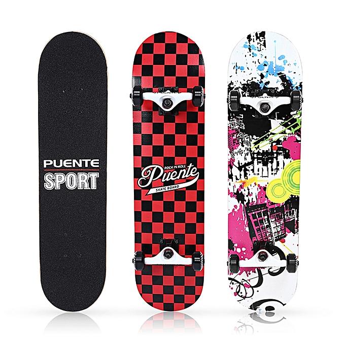 PUENTE Pet - 602 Four-wheel Double Kick Deck Skateboard for Entertainment  with T-shape Gadget