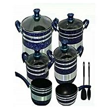 Non Stick Cooking Pots - 12 Pieces - Blue