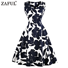 Hepburn Vintage Sleeveless Women Dress - Navy Blue